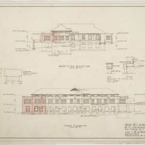 Right side elevation, front elevation of Ward Building
