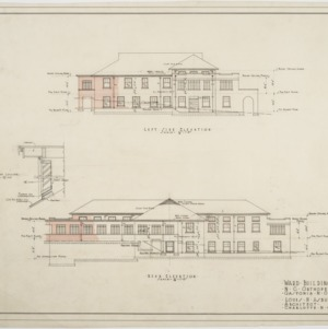 Left side elevation, rear elevation of Ward Building