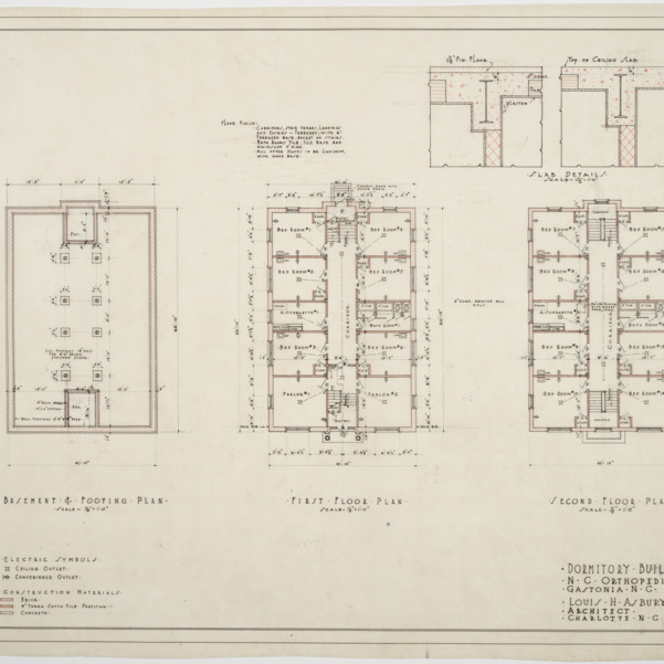 Basement and footing plan, first floor plan, second floor plan of Dormitory