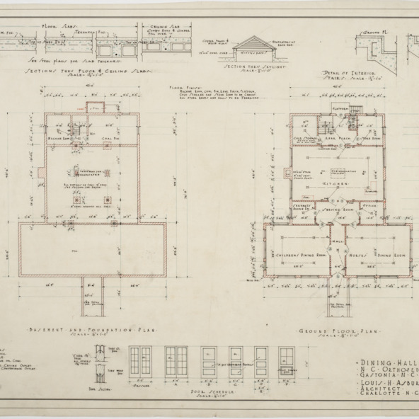 Basement and foundation plan, ground floor plan of Dining Hall