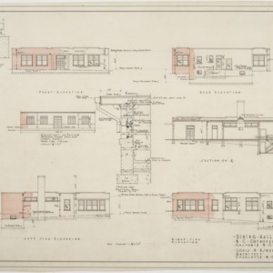 Elevations, sections of Dining Hall