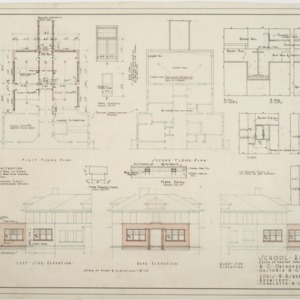 First floor plan, second floor plan, elevations of School