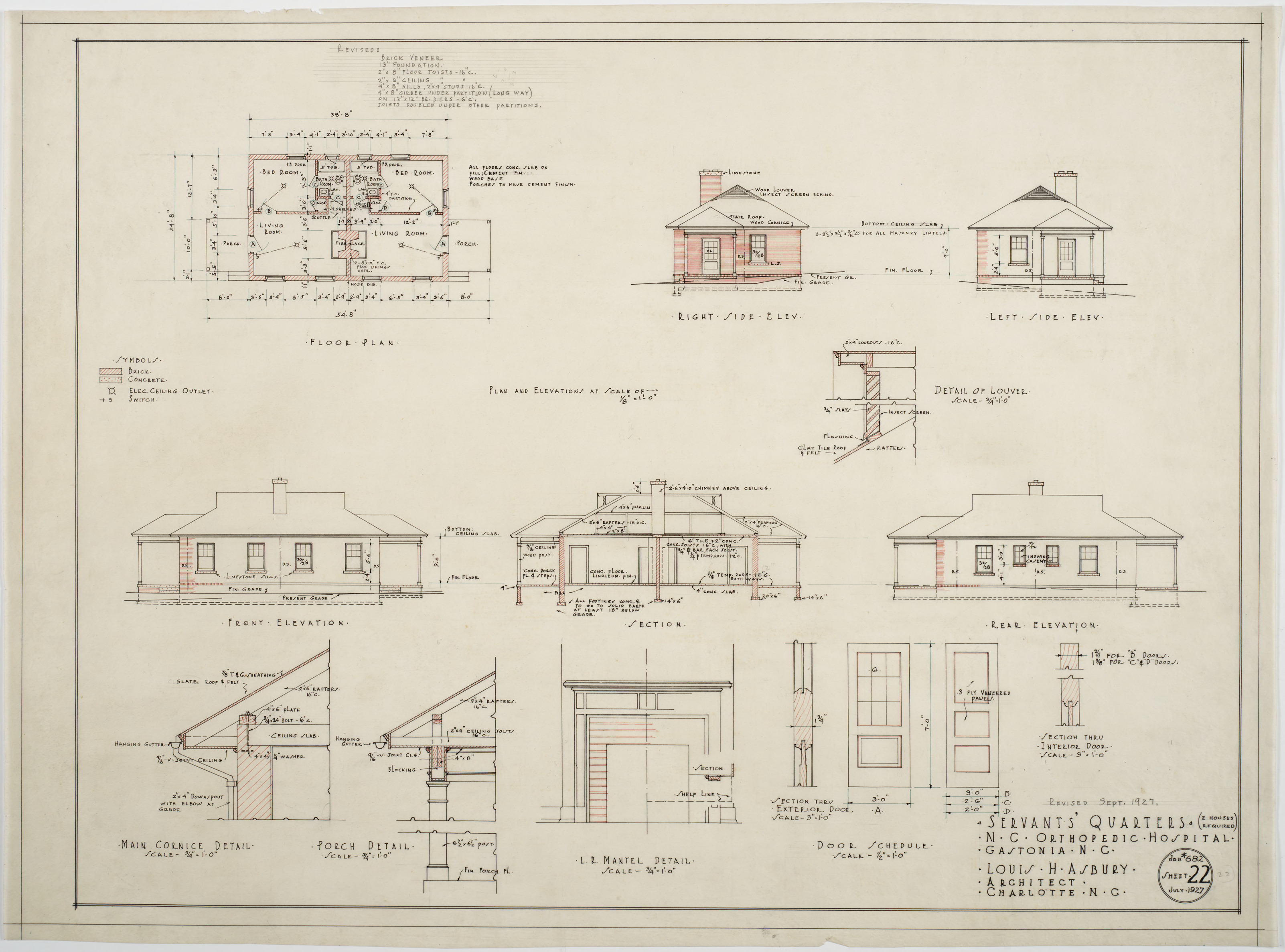 Plan Elevation Section Of Hospital : Floor plan elevations section of servants quarters