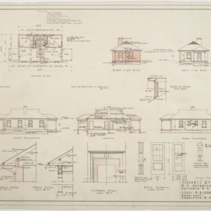 Floor plan, elevations, section of Servants' Quarters