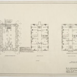 Foundation heating plan, first floor heating plan, second floor heating plan for Dormitory