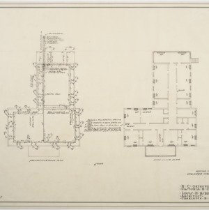 Foundation heating and piping plan, first floor heating plan for Colored Ward