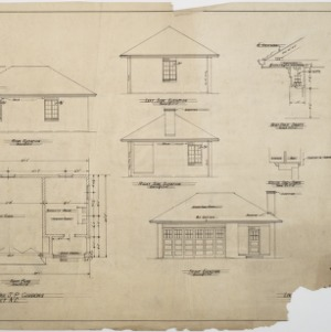 Floor plan, elevations of garage
