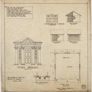 Front entrance details, garage floor plan and elevations