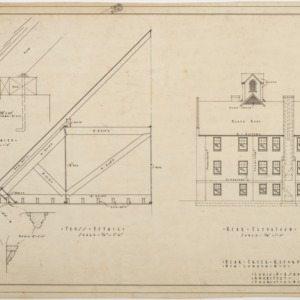 Rear elevation, truss details