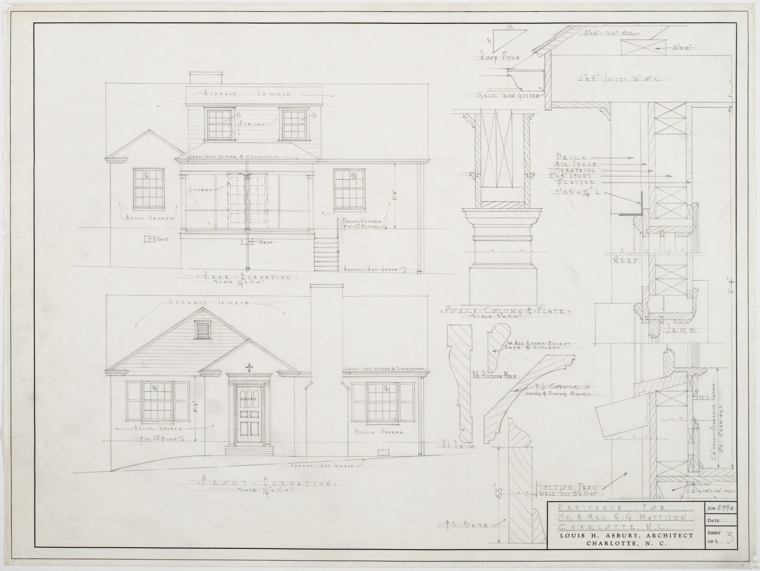 Rear elevation front elevation g g mattison house for What is rear elevation