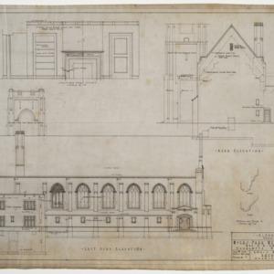 Left side elevation, rear elevation, and door detail
