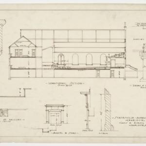 Longitudinal section and various details