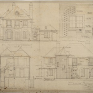 Front elevation, section, right side elevation