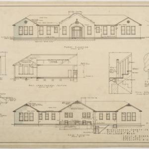 Front elevation, rear elevation, half longitudinal section
