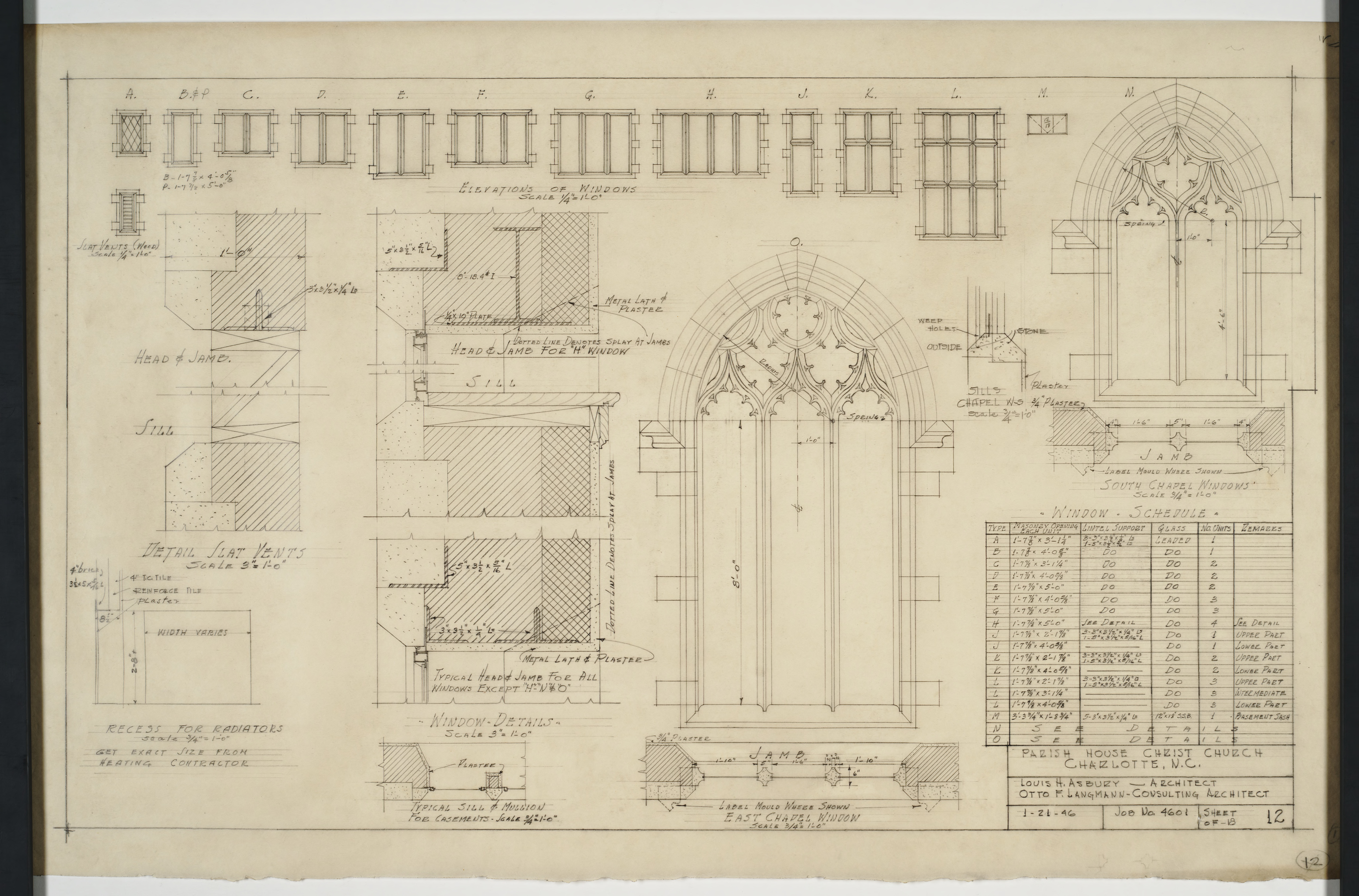 Window elevation details and schedule christ church for Window elevation