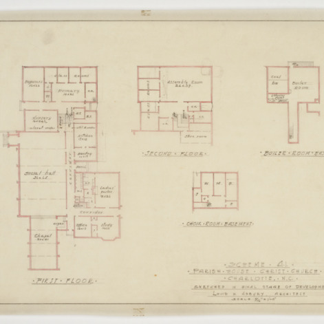 First floor, second floor and basement floor plans