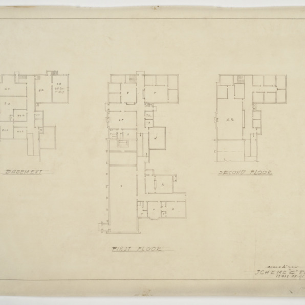 Basement, first floor and second floor plans