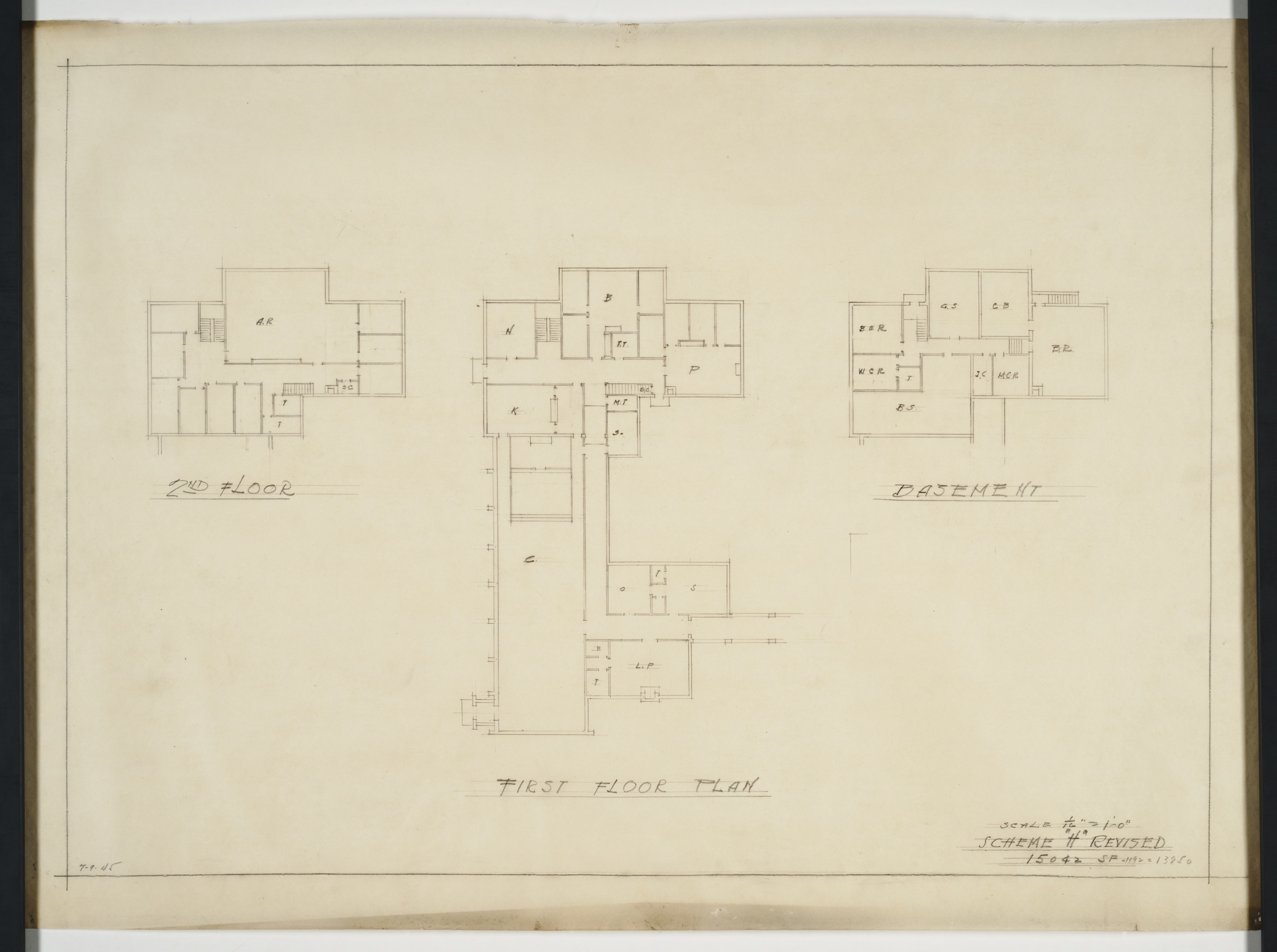 Second floor, first floor and basement floor plans