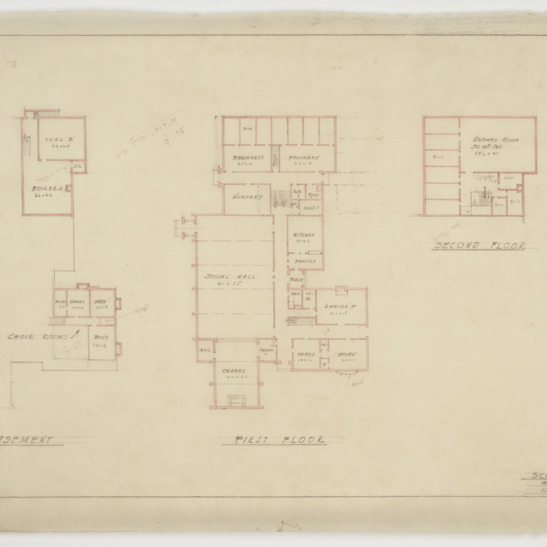 Basement, first floor and second floor plan