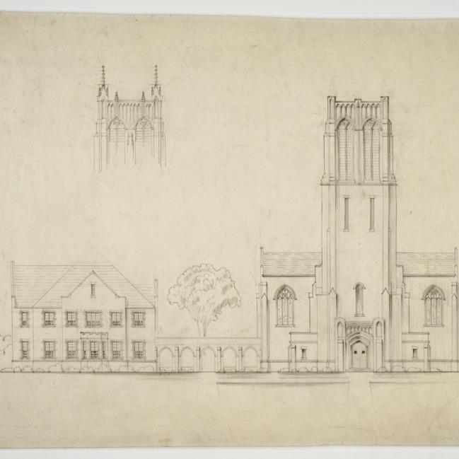 Elevation and sketch of tower