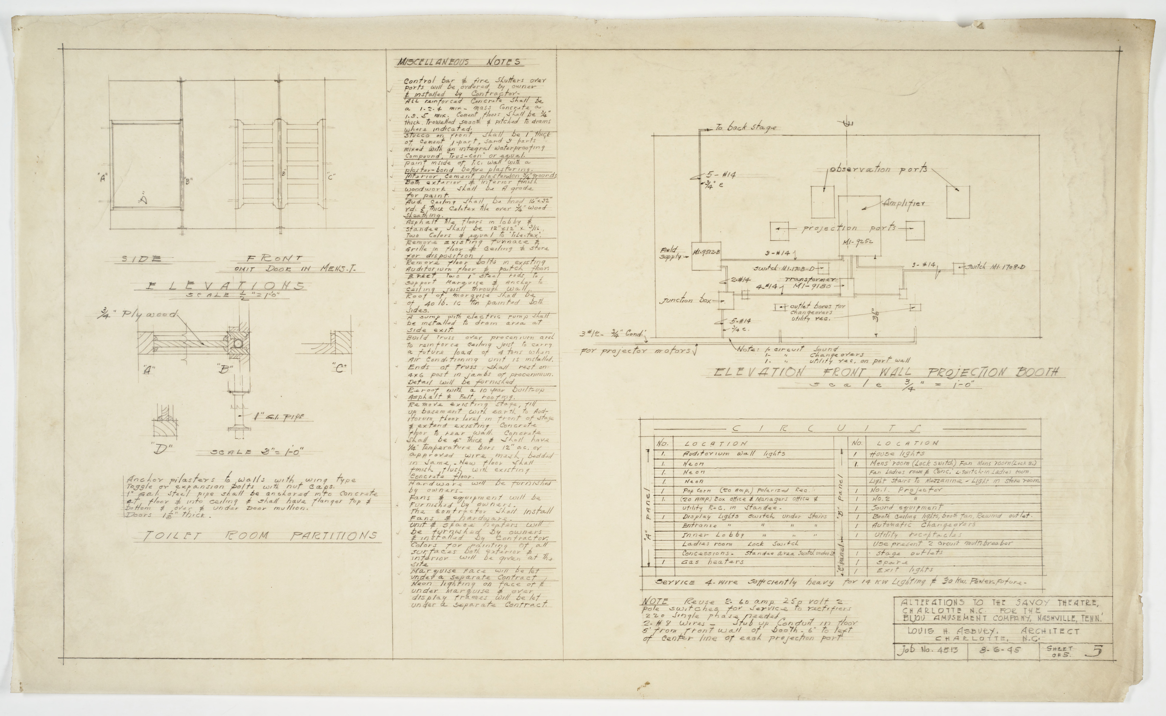Elevation Plan Notes : Toilet details notes and projection booth elevations