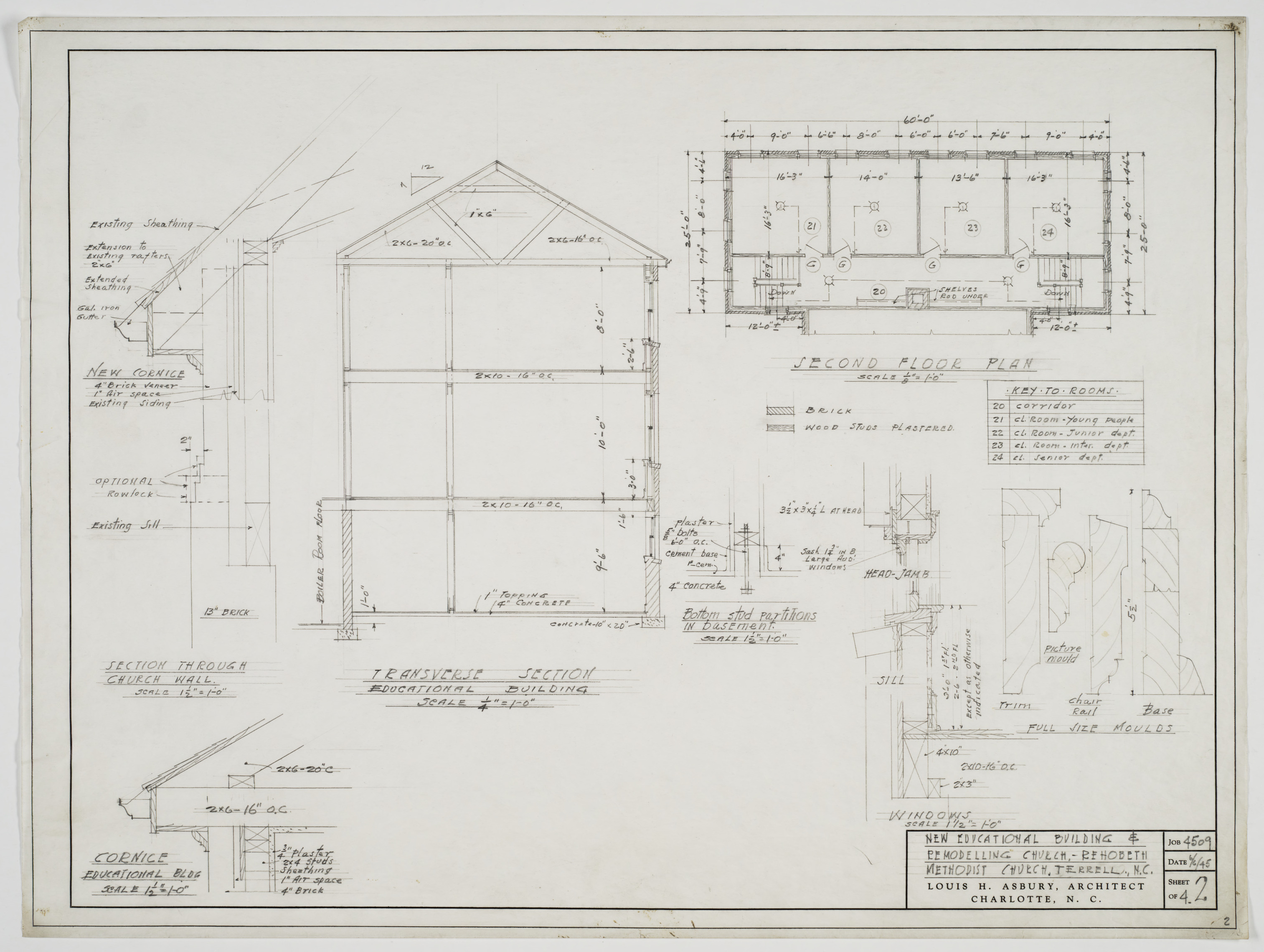 Elevation Church Plan A Visit : Sectional elevation second floor plan and cornice detail