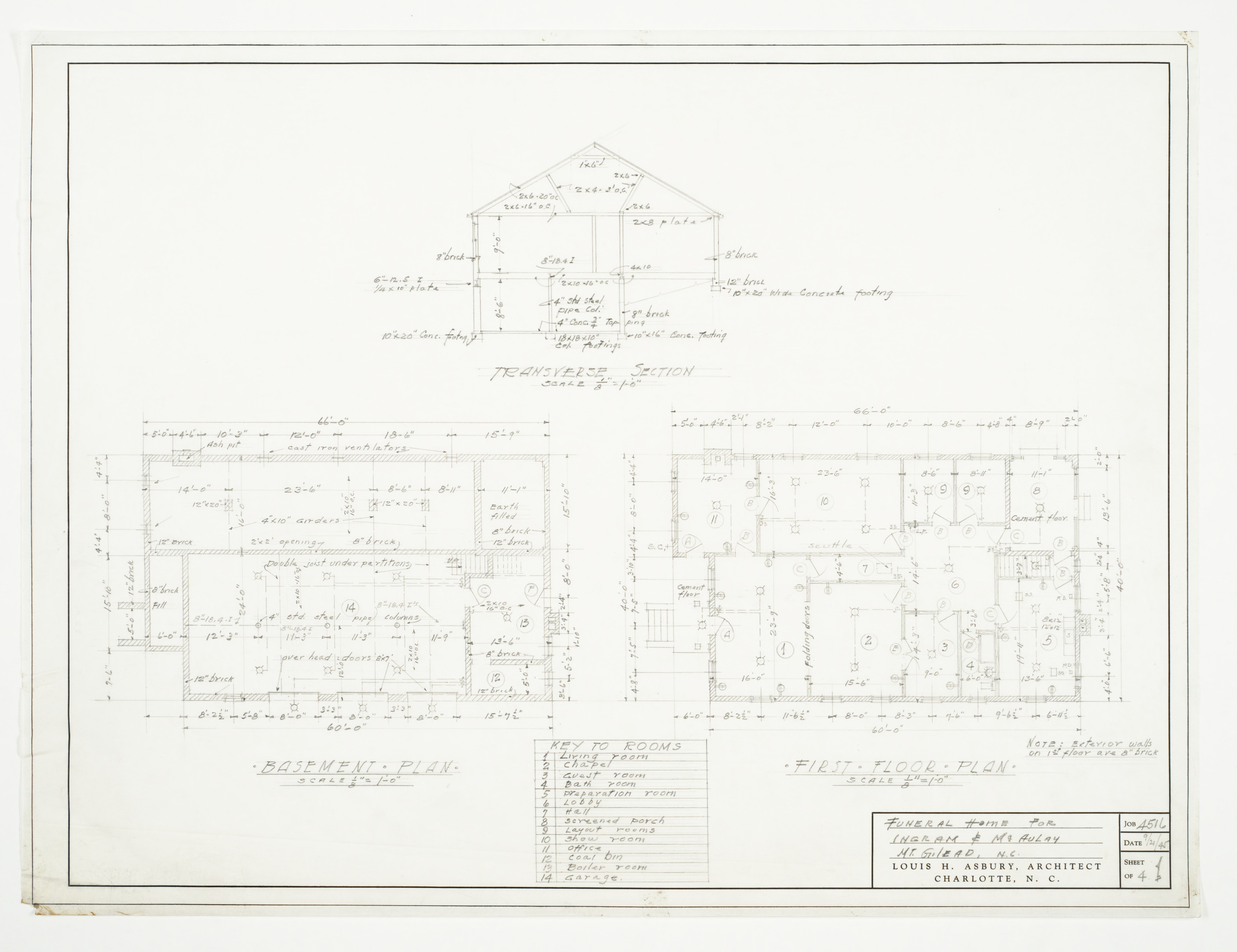 Funeral Home Floor Plans: Basement And First Floor Plans And Transverse Section