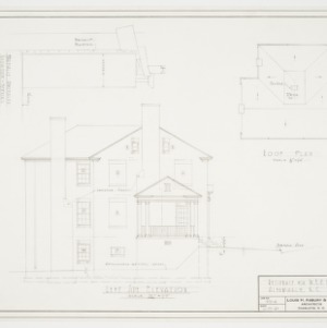 Left side elevation and roof plan