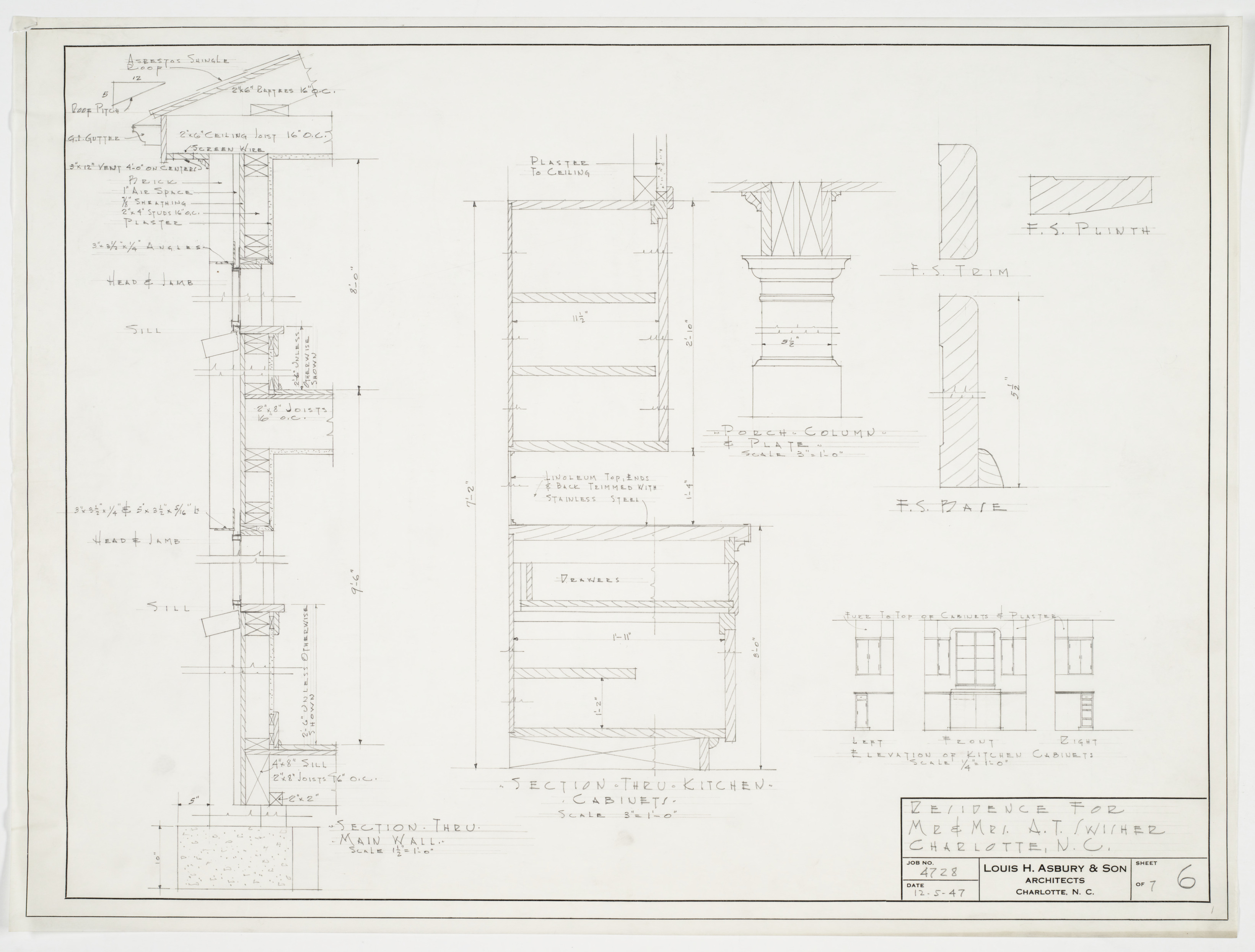 Kitchen cabinet details and wall section a t swisher for Kitchen cabinet section