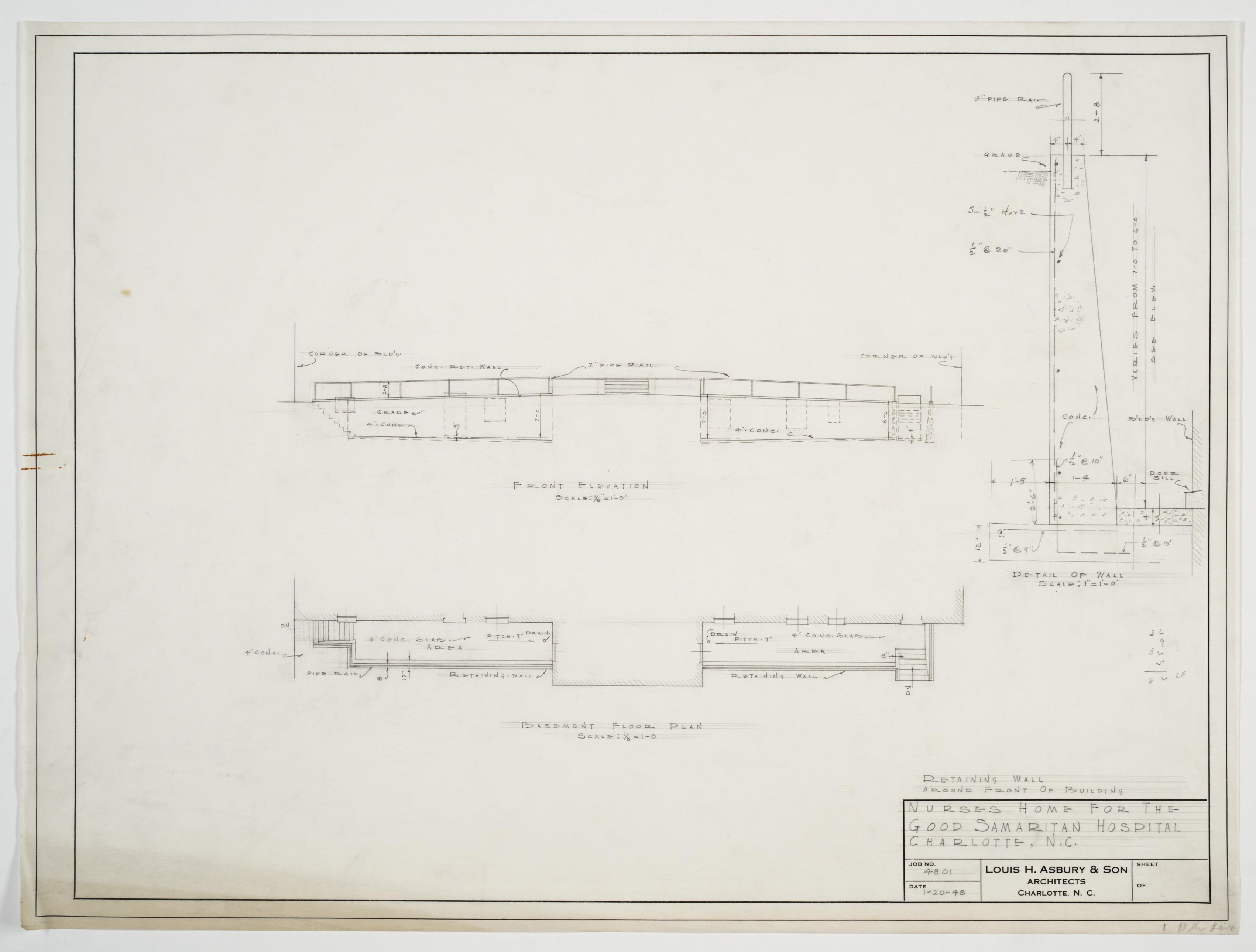 Stone Wall Elevation Drawing : Retaining wall plan elevation and detail good samaritan