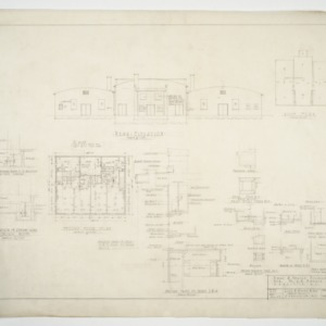 Elevation, second floor plan and door sections