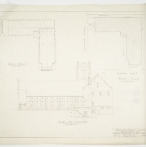 Right side elevation, roof plan and site plan