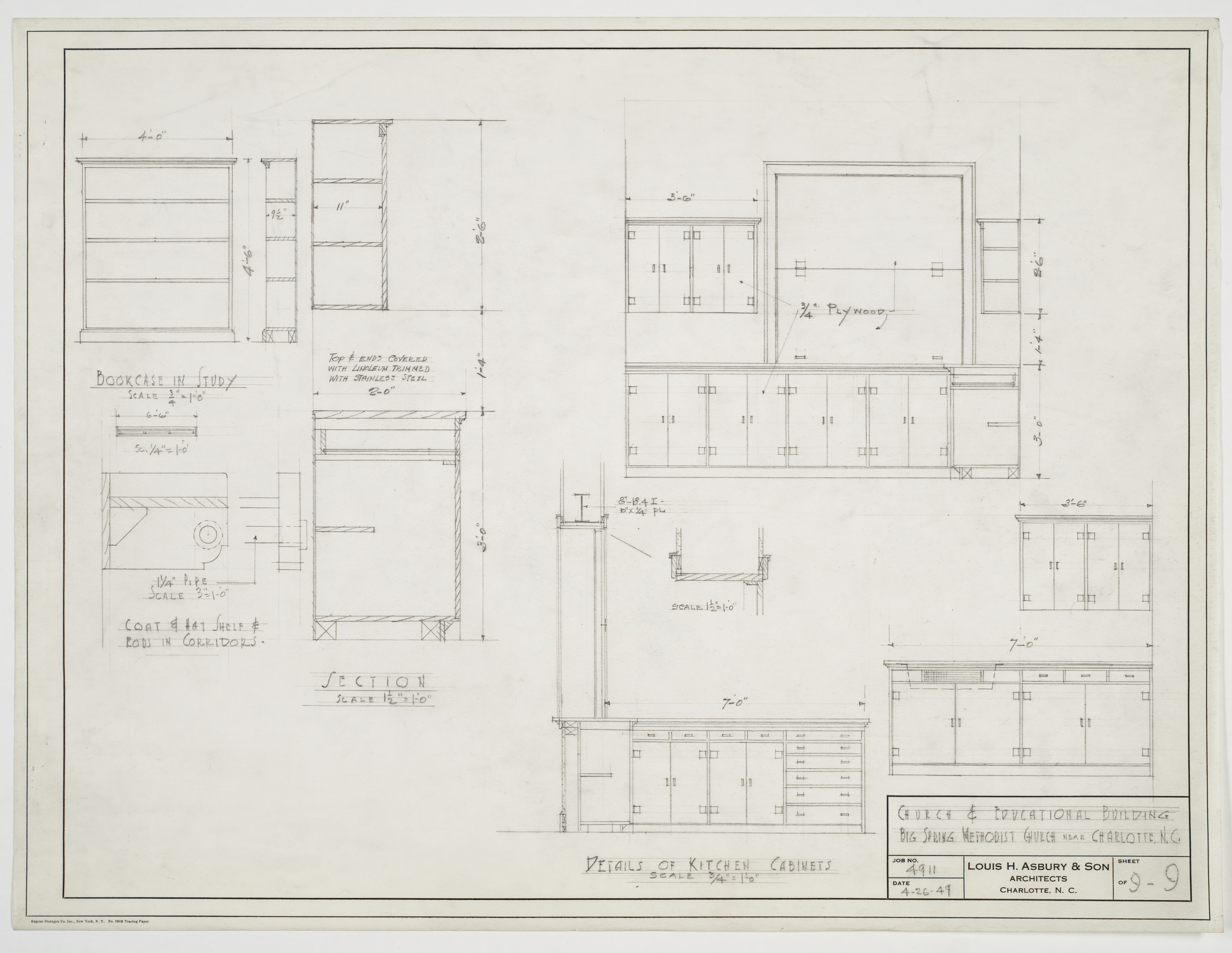 Cabinet detail drawings for Kitchen cabinet section