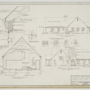 Front and rear elevation and sectional elevation