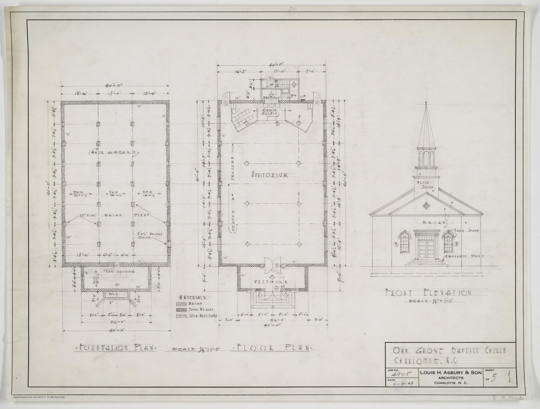 Floor Front Elevation Church : Foundation plan floor front elevation oak grove