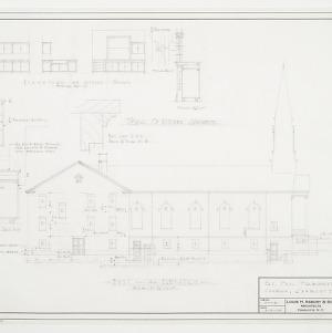 East (Left Side) Elevation and Kitchen Cabinet Details