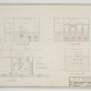 Bathroom floor plan and elevations