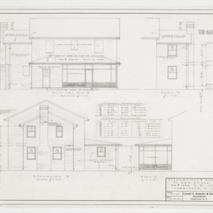 Elevations, window and door schedule