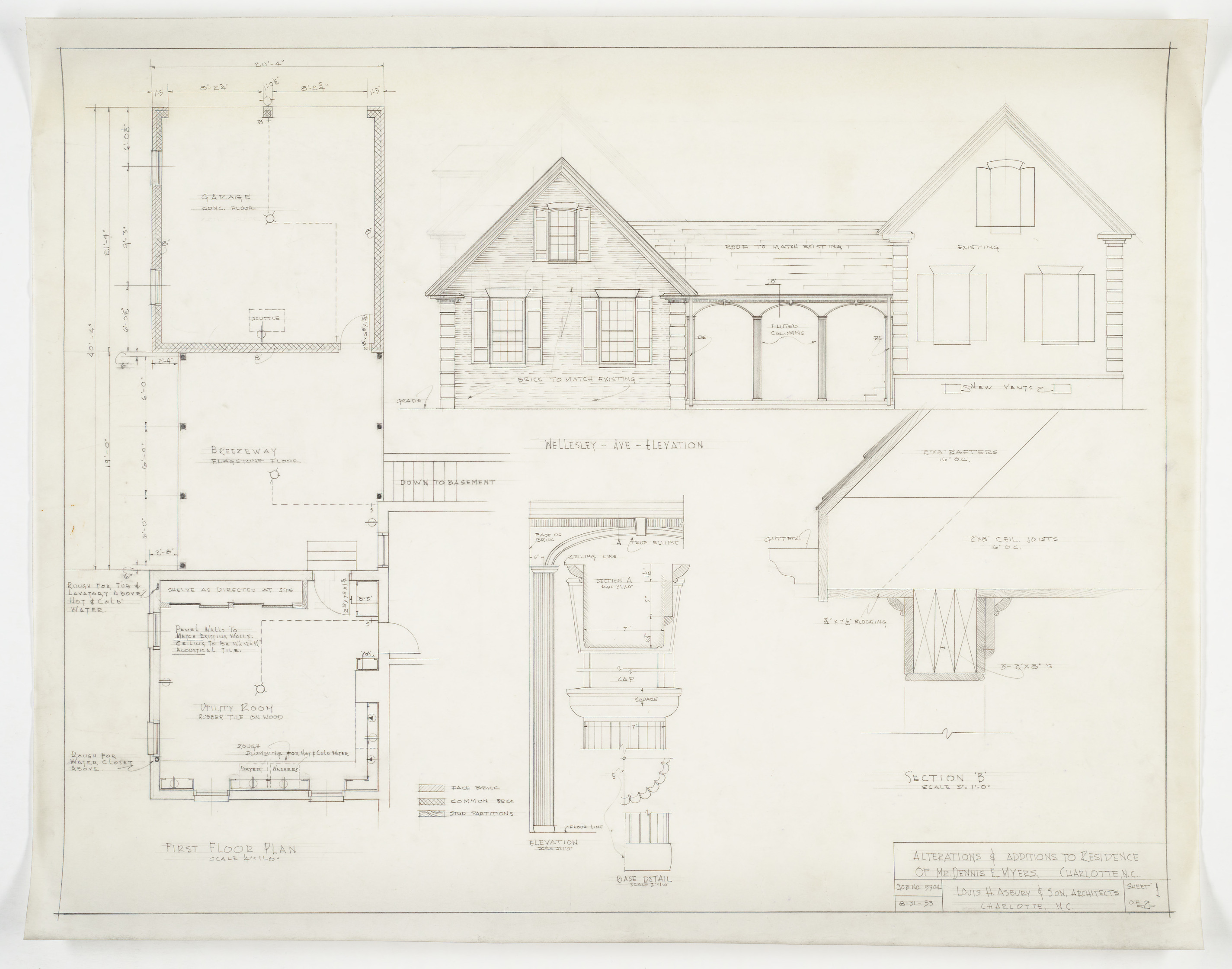 Floor Plan To Elevation : First floor plan elevation column and cornice section