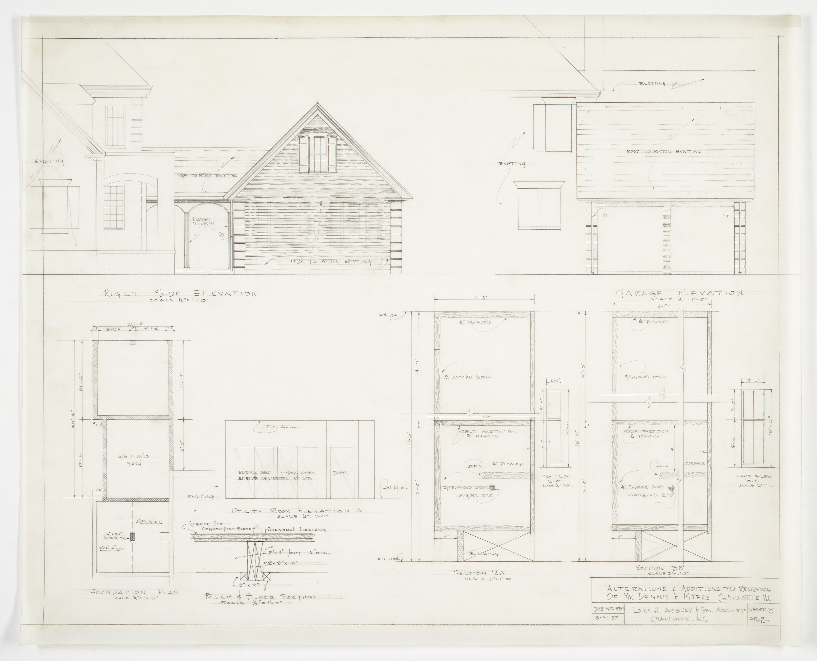 Right side and garage elevation foundation plan and for Garage foundation plans