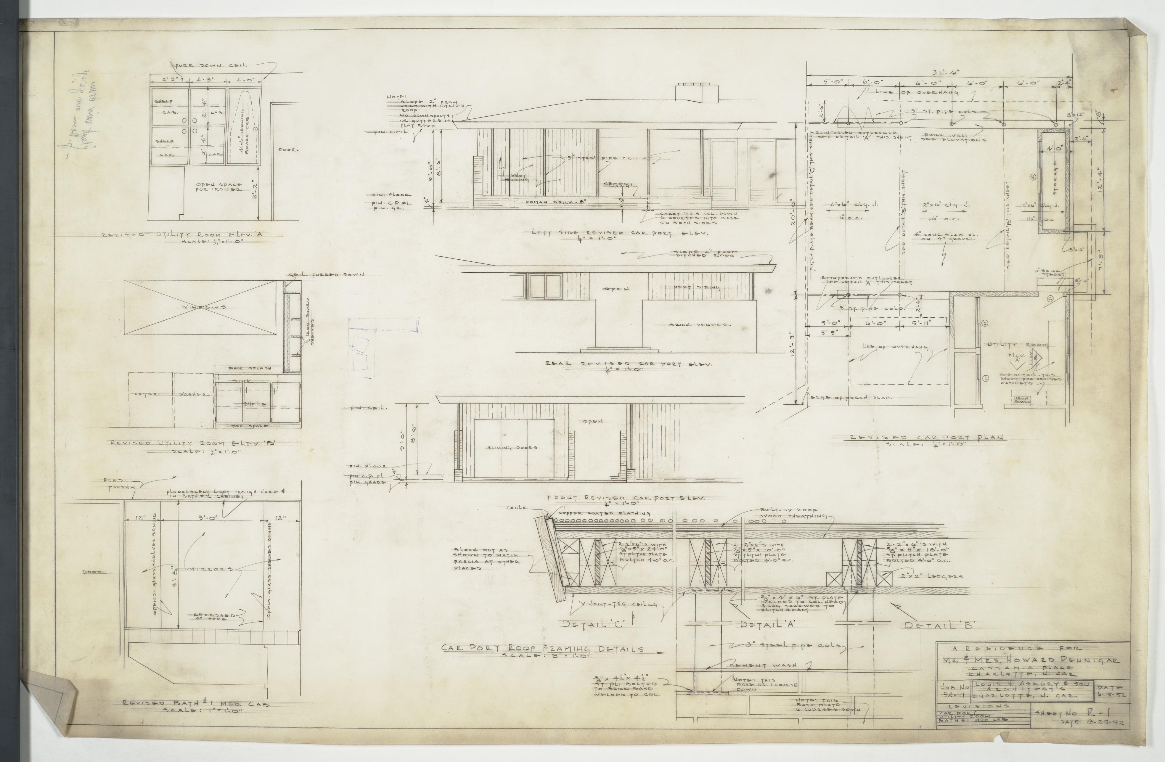 Bathroom and carport floor plans elevations and sections for Floor plans elevations and sections