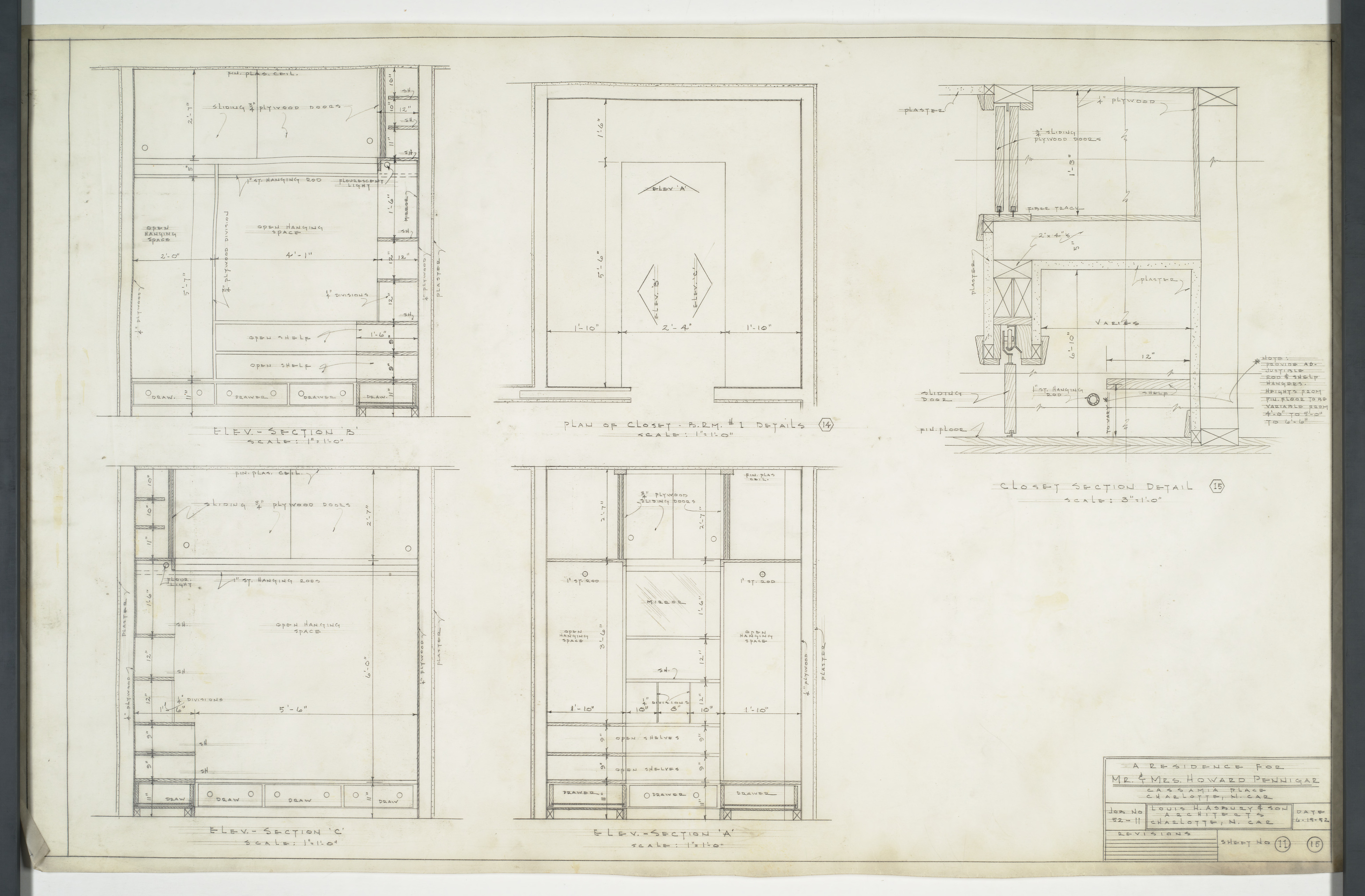 Closet Elevation Floor Plans And Sections Pennigar