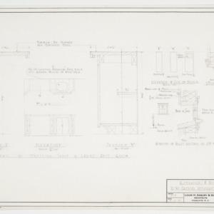 Ladies room cabinet, window and door elevations and details
