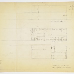 First and second floor plan and sectional elevation