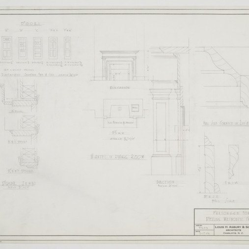 Door and mantel elevations and sections