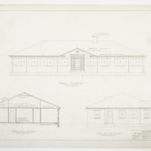 Front, left side and sectional elevations