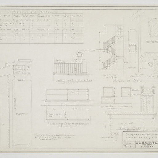Building schedule, cabinet and stair details and elevations