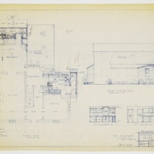 Floor plan, rear elevation and kitchen elevations