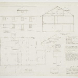 Basement plan, elevations and sectional elevations