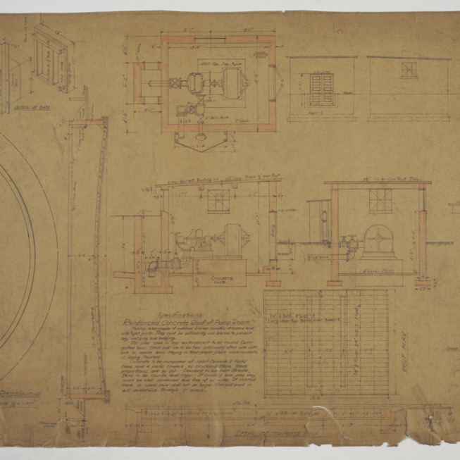 Reservoir plan pump room sections and roof plan